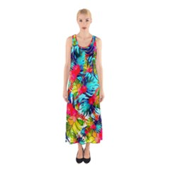 Watercolor Tropical Leaves Pattern Sleeveless Maxi Dress
