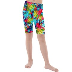 Watercolor Tropical Leaves Pattern Kid s Mid Length Swim Shorts