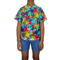 Watercolor Tropical Leaves Pattern Kid s Short Sleeve Swimwear