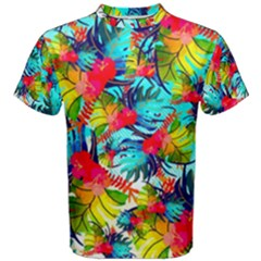 Watercolor Tropical Leaves Pattern Men s Cotton Tee