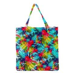 Watercolor Tropical Leaves Pattern Grocery Tote Bag