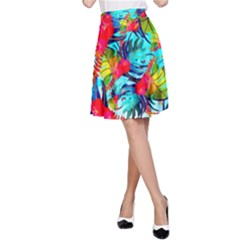 Watercolor Tropical Leaves Pattern A-Line Skirt