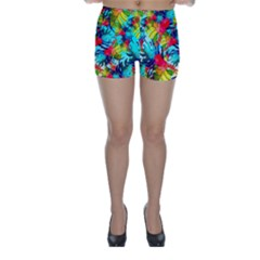 Watercolor Tropical Leaves Pattern Skinny Shorts