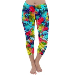 Watercolor Tropical Leaves Pattern Capri Winter Leggings