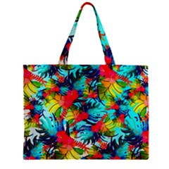 Watercolor Tropical Leaves Pattern Zipper Mini Tote Bag