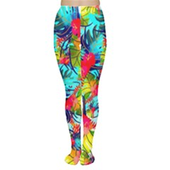 Watercolor Tropical Leaves Pattern Women s Tights