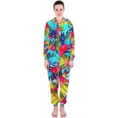 Watercolor Tropical Leaves Pattern Hooded Jumpsuit (Ladies)