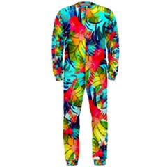 Watercolor Tropical Leaves Pattern OnePiece Jumpsuit (Men)