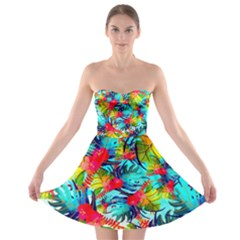 Watercolor Tropical Leaves Pattern Strapless Dresses