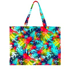 Watercolor Tropical Leaves Pattern Large Tote Bag