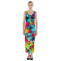 Watercolor Tropical Leaves Pattern Fitted Maxi Dress