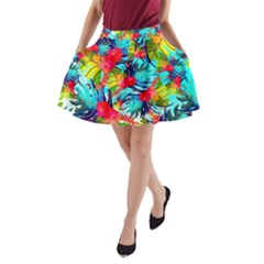 Watercolor Tropical Leaves Pattern A-Line Pocket Skirt