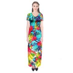 Watercolor Tropical Leaves Pattern Short Sleeve Maxi Dress