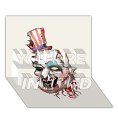 Captain Zombie YOU ARE INVITED 3D Greeting Card (7x5)