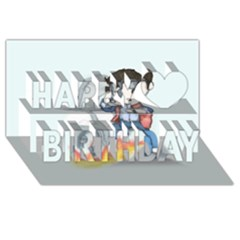 Back To The Plushie Future Happy Birthday 3D Greeting Card (8x4)