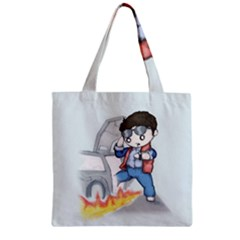 Back To The Plushie Future Zipper Grocery Tote Bag