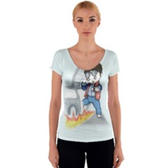 Back To The Plushie Future Women s V-Neck Cap Sleeve Top