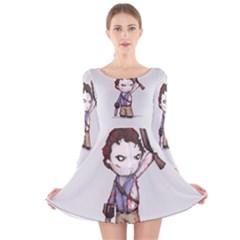 Plushie Boomstick Long Sleeve Velvet Skater Dress