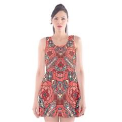 Petals, Pale Rose, Bold Flower Design Scoop Neck Skater Dress