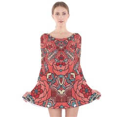 Petals, Pale Rose, Bold Flower Design Long Sleeve Velvet Skater Dress