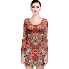 Petals, Pale Rose, Bold Flower Design Long Sleeve Velvet Bodycon Dress