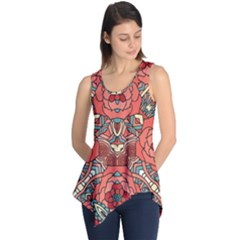 Petals, Pale Rose, Bold Flower Design Sleeveless Tunic