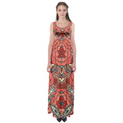 Petals, Pale Rose, Bold Flower Design Empire Waist Maxi Dress