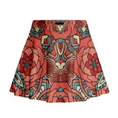 Petals, Pale Rose, Bold Flower Design Mini Flare Skirt