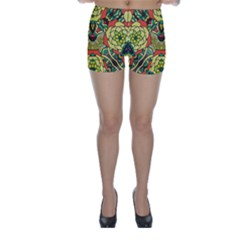 Petals   Retro Yellow   Bold Flower Design Skinny Shorts