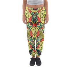 Petals   Retro Yellow   Bold Flower Design Women s Jogger Sweatpants