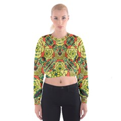 Petals   Retro Yellow   Bold Flower Design Women s Cropped Sweatshirt