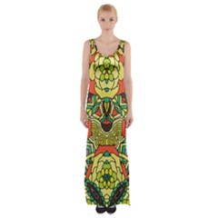 Petals   Retro Yellow   Bold Flower Design Maxi Thigh Split Dress