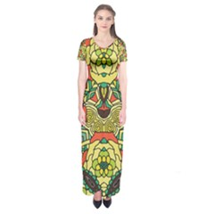 Petals   Retro Yellow   Bold Flower Design Short Sleeve Maxi Dress