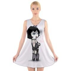 Rocky Horror Plush  V Neck Sleeveless Skater Dress