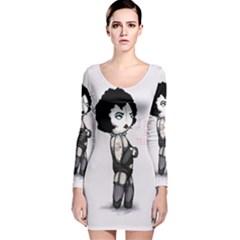 Rocky Horror Plush  Long Sleeve Velvet Bodycon Dress