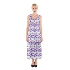 Floral Stripes Pattern Sleeveless Maxi Dress