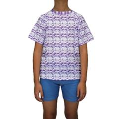 Floral Stripes Pattern Kid s Short Sleeve Swimwear