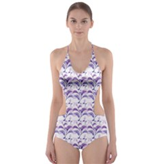 Floral Stripes Pattern Cut Out One Piece Swimsuit