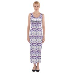 Floral Stripes Pattern Fitted Maxi Dress