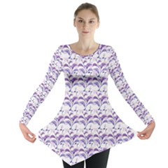 Floral Stripes Pattern Long Sleeve Tunic