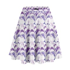 Floral Stripes Pattern High Waist Skirt