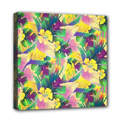 Tropical Flowers And Leaves Background Mini Canvas 8  x 8