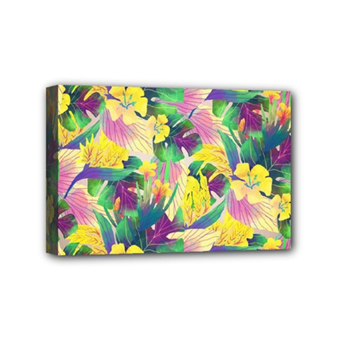 Tropical Flowers And Leaves Background Mini Canvas 6  x 4