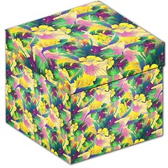 Tropical Flowers And Leaves Background Storage Stool 12