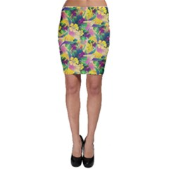 Tropical Flowers And Leaves Background Bodycon Skirt