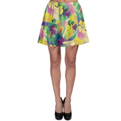 Tropical Flowers And Leaves Background Skater Skirt