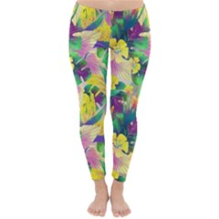 Tropical Flowers And Leaves Background Winter Leggings