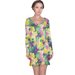Tropical Flowers And Leaves Background Long Sleeve Nightdress