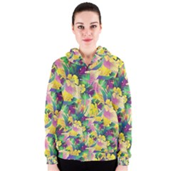 Tropical Flowers And Leaves Background Women s Zipper Hoodie