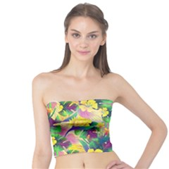 Tropical Flowers And Leaves Background Tube Top